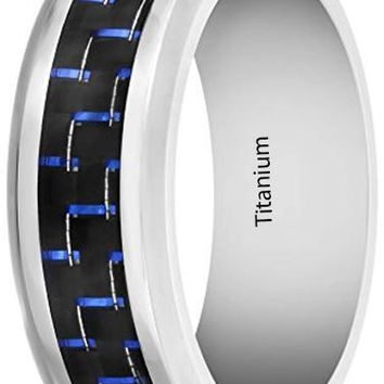 CERTIFIED 8MM Mens Titanium Ring Wedding Band with Black and Blue Carbon Fiber Inlay