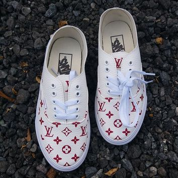 Vans x Supreme x Lv Old Skool Leather Sneakers Sport Shoes
