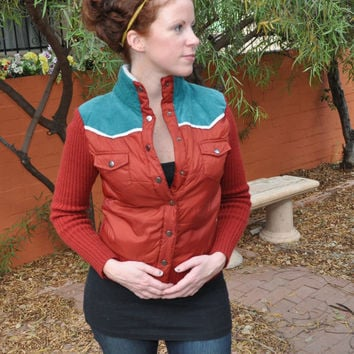 Vintage 1980s Jacket Rust Color Sweater and Puff Front by SewRed