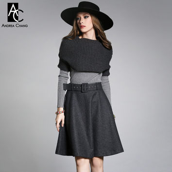 autumn winter designer women's clothing set skirt suit dark grey knitted cape wool skirt light grey sweater fashion brand set