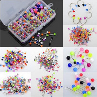 90Pcs Mixed Acrylic Stainless Steel Tragus Bar Lip Button Navel Rings Body Piercing Jewelry