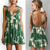 GREEN DELIGHT RUFFLED MINI SUNDRESS