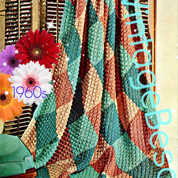 Afghan Knitting PATTERN Vintage 1960s Sand and Sea Afghan Vintage Beso Instant Download PDF Pattern