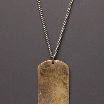 Large Bronze Dog Tag w/ Sterling Silver Chain.