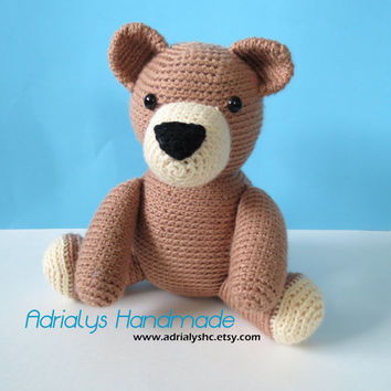 Crochet Brown Bear - Stuffed Animal - Toy - Teddy Bear - Amigurumi - Woodland Animals - Ready to Ship