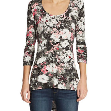 Grace Elements High-lo Floral Print Tunic Top