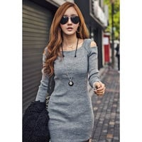 Gray Off The Shoulder Long Sleeve Knitted Dress