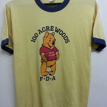 Sale Vintage 80s 90s Pooh 100 Acree Woods Say No To Drugs Cartoon Ringer tshirt