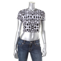 Bows N Spikes Womens Juniors Printed Cap Sleeves Crop Top