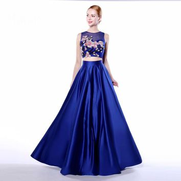 Two piece prom dresses V Back Flower Appliques Top Formal Evening Party Gown