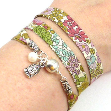 Buddha Wrap Bracelet, Liberty of London Fabric, yoga jewelry, yoga bracelet
