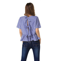 White and Blue Stripe Ruffled Blouse