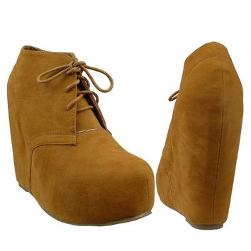 Womens Ankle Boots Sexy Lace Up Hidden Platform High Wedge Shoes Brown SZ