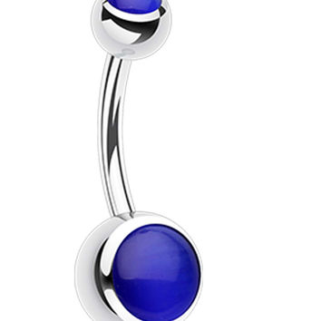 Cat Eye 316L Surgical Steel Belly Button Ring