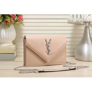 YSL Yves Saint Laurent Popular Women Shopping Bag Leather Metal Chain Crossbody Satchel Shoulder Bag Nude I-LLBPFSH