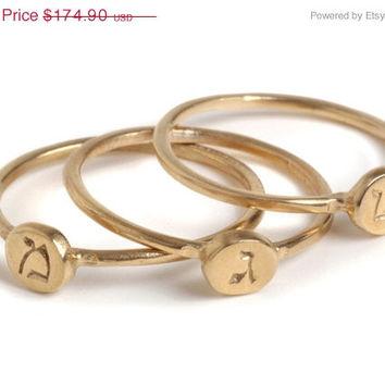 LABOR DAY SALE - Small 14 Karat Gold Signet ring with Engraved Hebrew Letter, personal Gold ring, 14K Gold Seal ring, kids names, Goldener