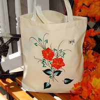 Hand Painted Orange Flowered Tote Bag With A Butterfly