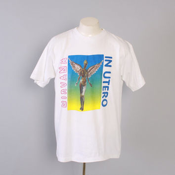 Vintage 90s NIRVANA T-SHIRT / 1990s Original Rare In Utero 93-94 World Tour Concert Tee Tshirt Shirt L