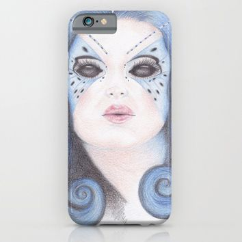Blue Butterfly Girl iPhone & iPod Case by Drawings By LAM