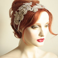 Vintage style bridal headpiece or side tiara unique by MillieICARO