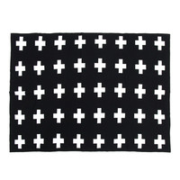 Baby Blanket 100% Cotton Light-weight Soft Baby Knitted Swaddle Blanket Sofa Crib Pram Cot Bed Black and White 40''x30''