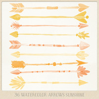 Watercolor clipart arrows tribal (36 pc) orange yellow saffron tangerine. hand painted for logo design, blogs, cards, printables wall art