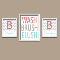 Brother Sister Child Name Monogram Initial Coral Aqua Gray WASH Brush Flush Chevron Set of 3 Trio Prints WALL ART Boy Girl Bathroom