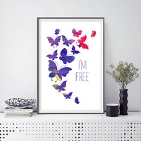 Printable quote butterflies Print butterflies poster quote Instant Download digital watercolor butterflies illustration printable art