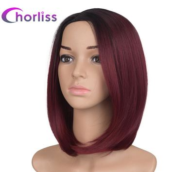 Chorliss 10inches Black T Burgundy  Ombre Synthetic Wigs  High Temperature Fiber Bob Blonde Wig Short Straight Women's Wigs