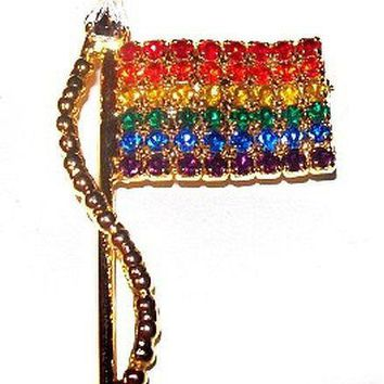 """Flag Brooch Pin Signed OTC Rainbow Color Rhinestones Gold Metal Independence Day 2"""" Vintage"""