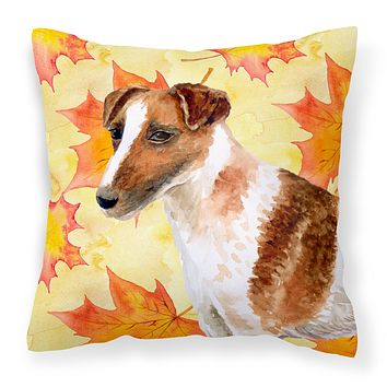 Smooth Fox Terrier Fall Fabric Decorative Pillow BB9908PW1414