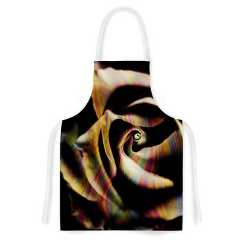 "Ingrid Beddoes ""Rose Swirl"" Rainbow Black Artistic Apron"