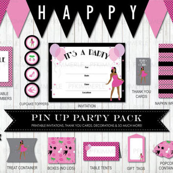 Rockabilly Pin Up Sparkles Package, Birthday Decorations, DIY Party, African Pin Up Retro, Vintage, Ladies, Pink, Ladies Night,  PolkaDot