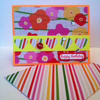 Handmade Happy Birthday Greeting Card, Great for a Woman, Girl, Girlfriend, Mother, Sister, Best Friend, Scrapbook Paper, Bright Neon Colors
