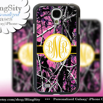 Camo Yellow Monogram Galaxy S4 case S5 RealTree Muddy Camo Personalized Samsung Galaxy S3 Case Note 2 3 Cover Country Girl