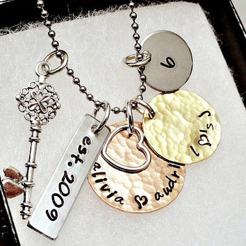 Personalized Necklace - Mixed Metal - Cluster Necklace - Key - Heart - Charm