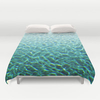 Pool Water 2 - Duvet Cover, Turquoise Blue Green Bed Blanket Throw, Boho Chic Beach Surf Decor Bedding Accent. In Twin Full Queen King Size