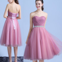 The new heart-shaped small formal attire that wipe a bosom In the chiffon long dress bridesmaid dresses Pink
