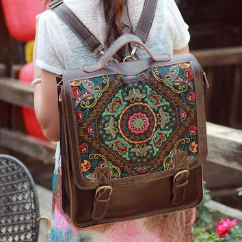 Day-First™ Womens Handmade Large Embroidered Backpack Laptop Bag Genuine Leather Travel Bag