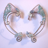 Blue Apatite Adorned Pair of Elf Ear Cuffs, Renaissance Fair, LOTR, Hobbit, Elven, Middle Earth