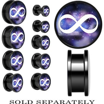 Galaxy White Infinity Sign Screw Fit Plug in Black Anodized Titanium