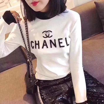 """Chanel"" Women Fashion Multicolor Turtleneck Rhinestone Letter Bodycon Long Sleeve T-shirt Tops"
