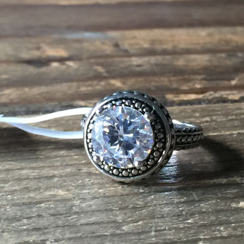 An Antique Style Perfect 3CT Round Cut Russian Lab Diamond Halo Engagement Ring