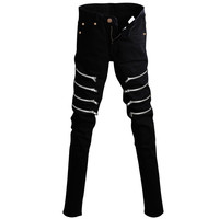 Black Multi-Zipper Slim Fit Jeans
