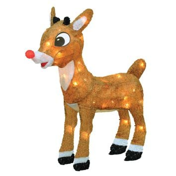 "18"" Pre-Lit Rudolph the Red-Nosed Reindeer Yard Art Decoration - Clear Lights"