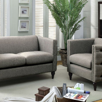 Furniture of america CM6780GY 2 pc emer gray fabric love seat and chair set with nail head trim