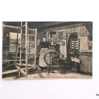 Vintage Postcard Quebec Canada antique post card woman spinning yarn rustic spinning wheel