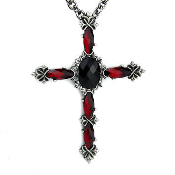 Black & Red Vampire Cross Necklace Dark Elegant Pendant