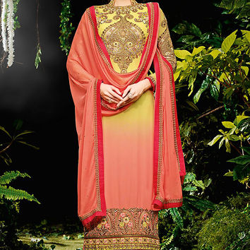 Shaded Lemon Green and Peach Embroidered Straight Cut Suit