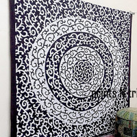 Black N White Indian Queen Mandala Hippie Bohemian Tapestries wall hanging Indian Boho Bedding Throw Bedspread Ethnic Home Decor Beach Sheet
